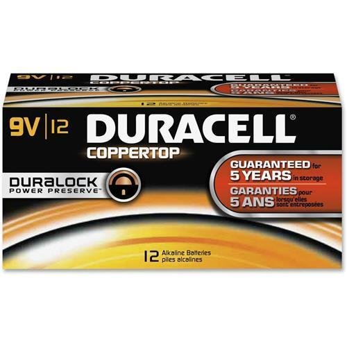 Duracell Procter & Gamble 01601 9V Batteries Coppertop 12/BX Black