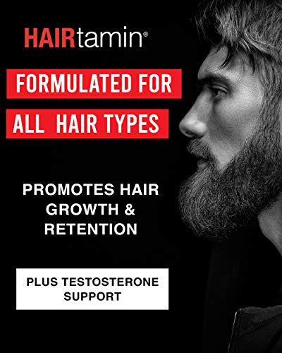 HAIRtamin Man Hair Growth Vitamins - Best Mens Biotin Fast Hair Growth Formula Vitamin Supplement for Thicker Fuller Healthier Hair (6 Month - 180 Capsules)