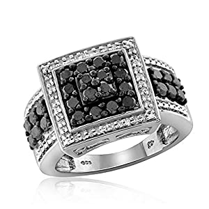 1.00 Carat T.W. Black And White Diamond Square Shape Sterling Silver Ring Size-7