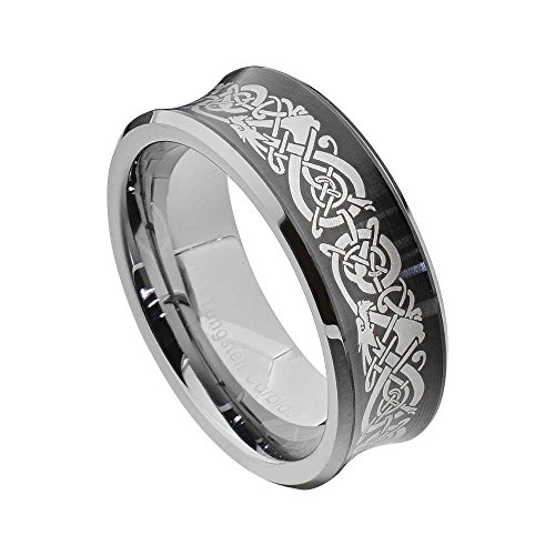 - FlameReflection 8mm Tungsten Concaved Brush Center Dragon Celtic Scroll Mens Wedding Band size 10