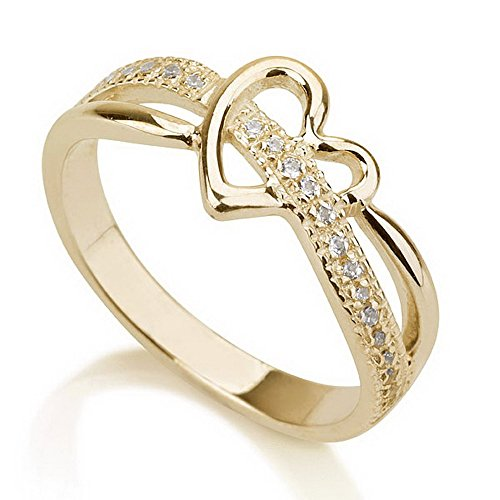 Gold Plated Heart Ring, Love Ring Heart, Promise Ring 925 Sterling Silver Plated in 18k Gold Available sizes 5,5.5,6,6.5,7,7.5,8,8.5,9