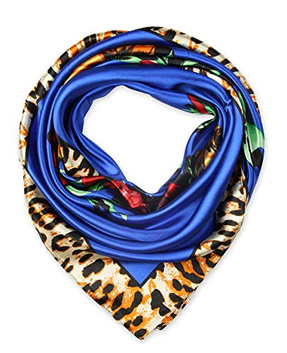 Ladies Pretty Satin Neckerchief Square Scarf headband 35 x 35 inches Flowers Leopard Blue by corciova