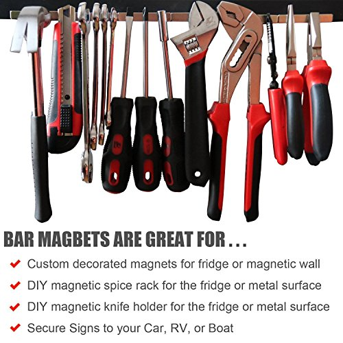 60 Rare Earth DIYMAG Strong Neodymium Bar Magnets with Double-Sided Adhesive