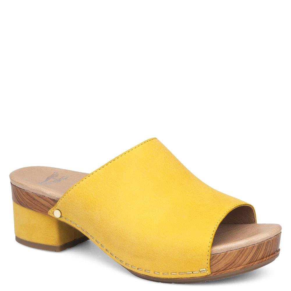 Dansko Women's Maci Sandal Yellow Milled Nubuck Size 38 EU (7.5-8 M US Women)