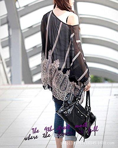Mujer Verano Cordón Gasa Camiseta de Manga 3/4 Tops Blusa Batwing Negro
