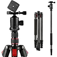 BC Master Carbon Fiber 2-in-1 Tripod Monopod Kit, 80-inch Universal Dslr Camera Tripod with Bag, Ball Head, Bubble Level, Quick Release Plate for Canon Nikon YouTube, TC533M Weight: 3.2lbs