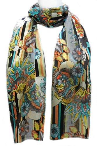 Imagine If... Silk Feel Scarf- Floral Stripe Wallpaper- Grey Yellow Orange Black
