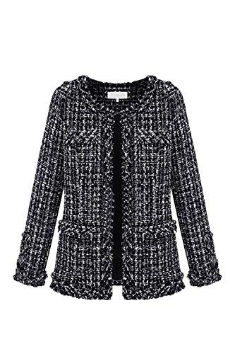 Vosujotis Les Femmes lgantes Manches Longues Outcoat Tweed Slim Avant Ouvert Manteaux en Laine Black