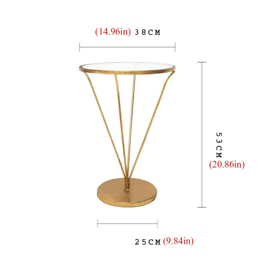 Jcnfa-Tavoli Tavolino in Vetro, Tavolino da caff/è Tavolo A Forma di V Metallo in Ferro Battuto Multifunzione Tavolo di Stoccaggio Camera da Letto del Soggiorno