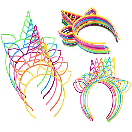 (Jovitec 24 Pieces Unicorn Headband Unicorn Horn Hair Hoop for Fancy Dress Cosplay Decoration Supplies, Assorted)