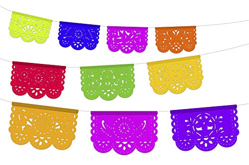 Mini Mexican Party Decorations, 5 PK Small Papel Picado Banner 20 Total feet Multicolor Tissue Paper Garland, Mexican Decorations, Weddings, Birthdays Fiesta Party Supplies, Cinco de Mayo, ws81 ()