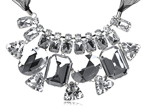 ALILANG Womens Black Clear Gemstone Rhinestone Mesh Fabric Ribbon Chunky Bib Necklace