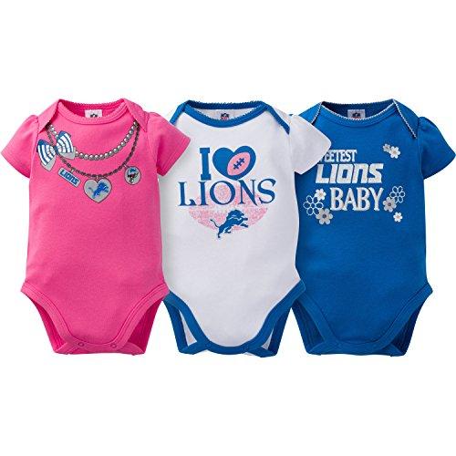 Gerber Childrenswear NFL Detroit Lions Girls Short Sleeve Bodysuit (3 Pack), 0-3 Months, Pink (Lions Detroit Nfl Cotton)