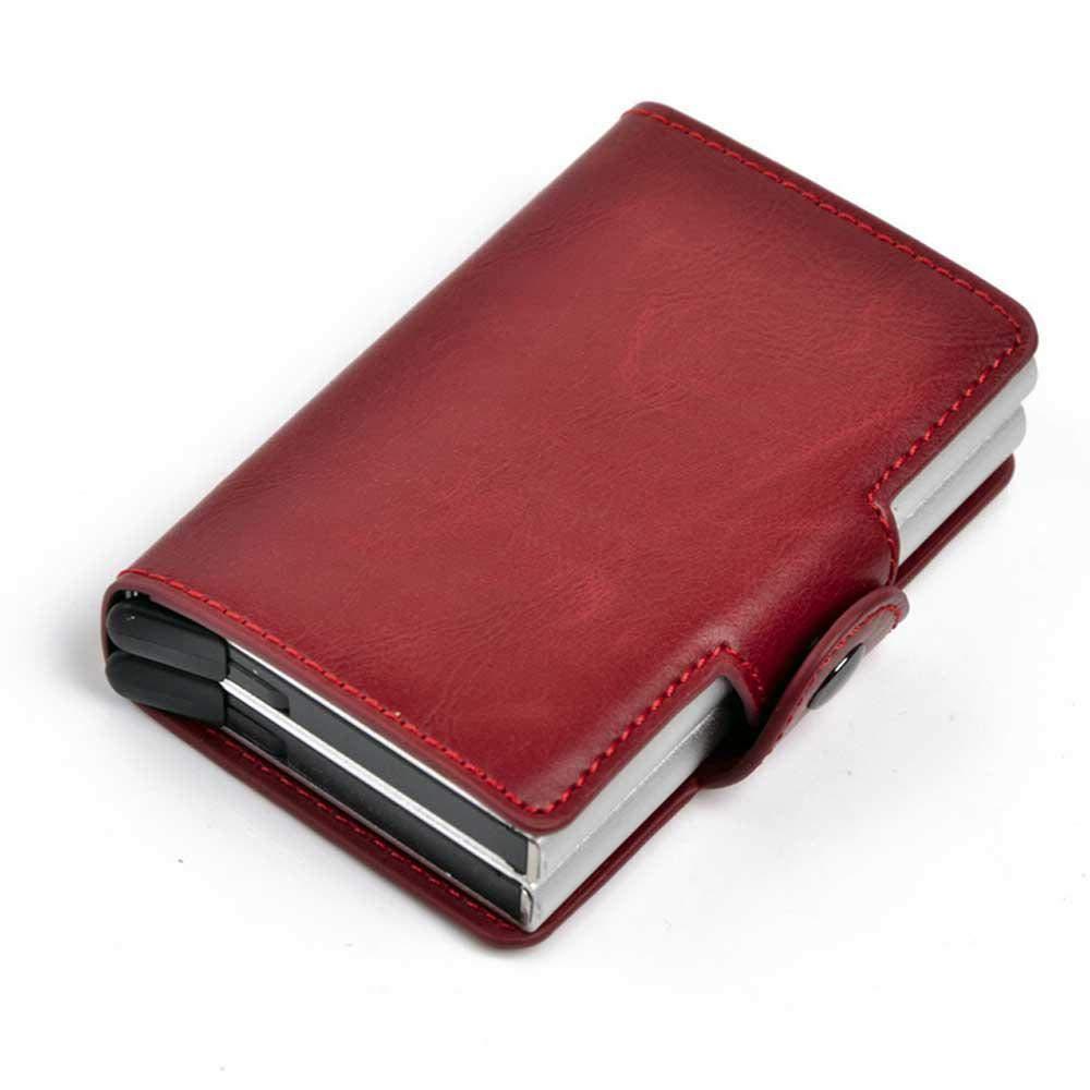 Credit Card Holder RFID Blocking Wallet Slim Wallet PU Leather Vintage Aluminum Business Card Cases Automatic Pop-up Card Fits in Front Pocket Wallet Holds 12 Cards for Women or Men Foonee
