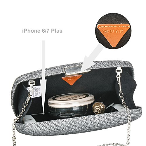 wedding Silver Bag Purse hot Womens WALLYN'S Evening Fashion Clutch Case Hard TqXFwvXU