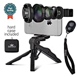 Camera Lens Kit by Zeso | Professional CPL, Macro & Wide Angle Lenses | Multi-use tripod & Selfie Remote Control | For iPhone, Samsung Galaxy, iPads, Tablets | Universal Phone Clip & Hard Storage Case