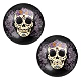 LilMents Floral Sugar Skull Mexican Calvera Mens Womens Stainless Steel Stud Earrings