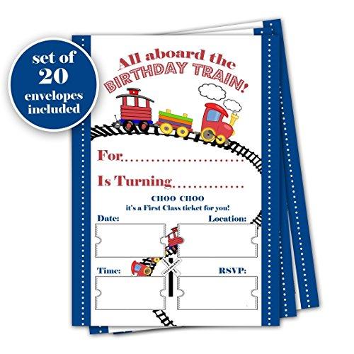 (Train birthday invitation - Set of 20 with envelopes - Birthday Party Celebration)