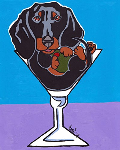 Black and Tan Dachshund Dog in Martini Glasses Signed Art Print of Original Artwork Acrylic Painting