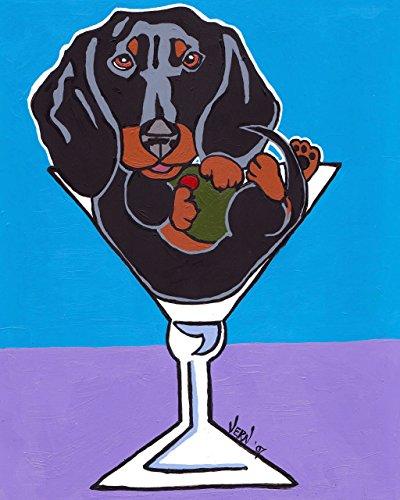 Black and Tan Dachshund Dog in Martini Glasses Signed Art Print of Original Artwork Acrylic - Dog Martini Art
