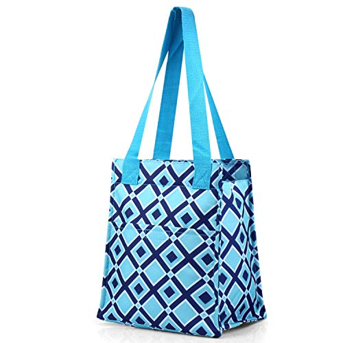 OKSLO Hand bag by insulated lunch tote zipper double handles carry bag for travel groc