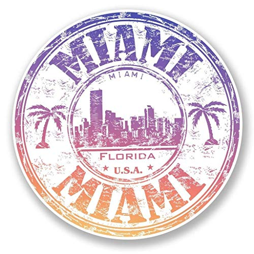 - Miami Florida USA Vinyl Sticker Decal Laptop Car Bumper Sticker Travel Luggage Car iPad Sign Fun 5