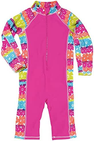 Sun Smarties Little Girl UPF 50+ Rainbow One Piece Lightweight Surf Suit Sunsuit