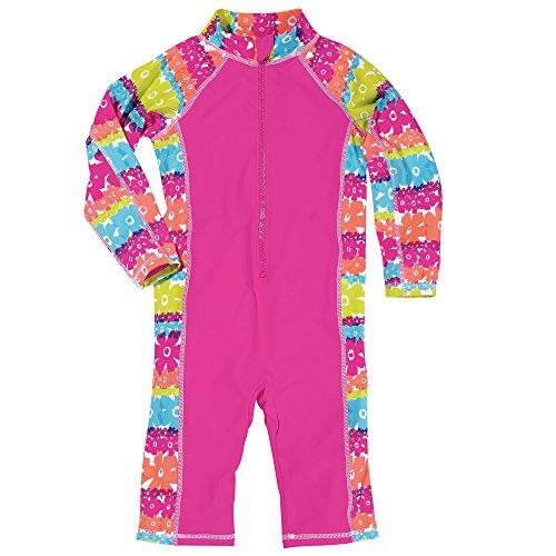 Sun Smarties Toddler Girls Lightweight UPF 50+ Rainbow Surf Suit Sunsuit 2T Pink