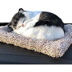 Ergocar Lindo Animal Muñeco Bolsa de Carbón Activo de Bambú, Ambientador Natural Eficaz y Desodorante para Eliminar los Olores y Decoración del Coche (Gato Blanco y Negro)