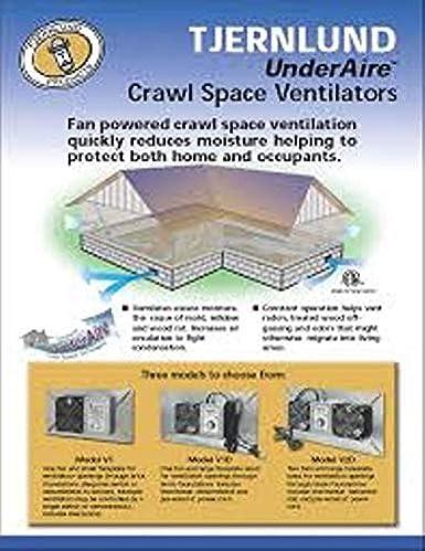 Tjernlund V1D UnderAire Crawlspace Ventilator Exhaust Fan Model 110 CFM