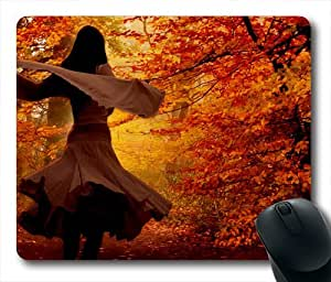 Autumn Beauty and Fall Leaf Oblong Shaped Mouse Mat