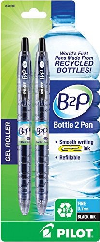 Pilot B2P - Bottle to Pen - Retractable Gel Roller Pens Made from Recycled Bottles, 2 Pen Pack, Fine Point, Black (31605)