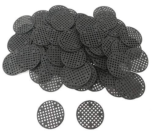 Rusoji 100pcs Black Color Plastic Flower Pot Hole Mesh Pad, Bosai Bottom Grid Mat for Drainage and Soil Loss Prevention, 4.5cm Diameter ()