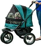 Pet Gear No-Zip Double Pet Stroller, with Zipperless Entry, Pine Green