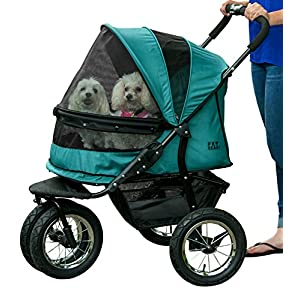Pet Gear No-Zip Double Pet Stroller Zipperless Entry Pine Green