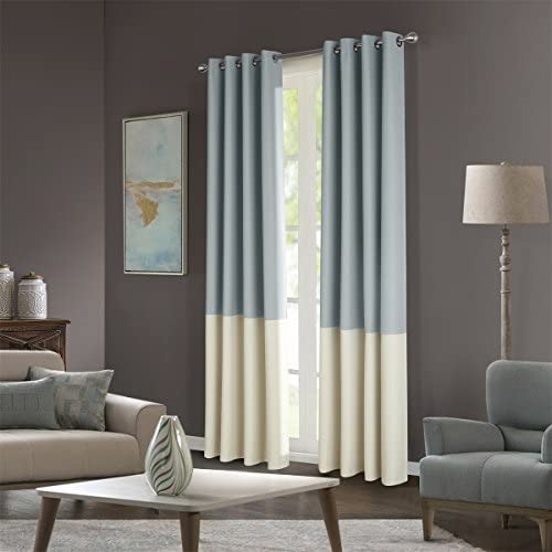 Dreaming Casa Stitching Style Two Tone Curtains Color Block Curtains 100″ Wide Blackout Wide Panel Curtains Light Reducing Window Treatment Grommet Top 2 Panels Light Grey Ivory 100″ W x 72″ L