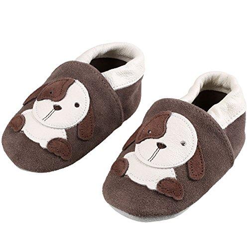 Sibba Lauflernschuhe Babyschuhe Krabbelschuhe, mit weichem Leder für Mädchen und Jungen (6-12 Monate, Brauner Hund)