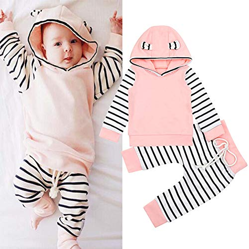 Baby Girl Clothes Long Sleeve Hoodie Tops + Stripe Pants Outfit Pink Casual Clothing Set