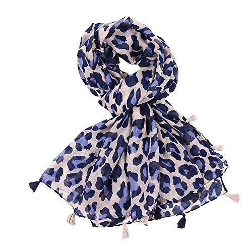 Womens Leopard Print Scarf Wrap Shawls Autumn Winter Tassel Headband Soft Shawl (Throw Fur Wolf Uk Faux)