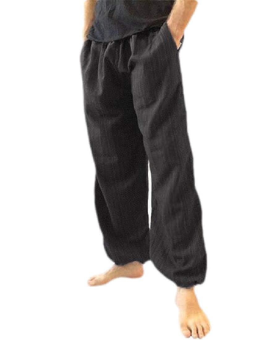 JXG Men Cotton Baggy Classic Plus Size Wide Leg Elastic Waist Harem Pants