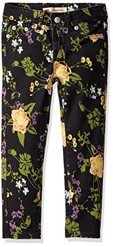 (Levi's Girls' 710 Super Skinny Fit Soft Brushed Jeans, Jet Black Floral,)