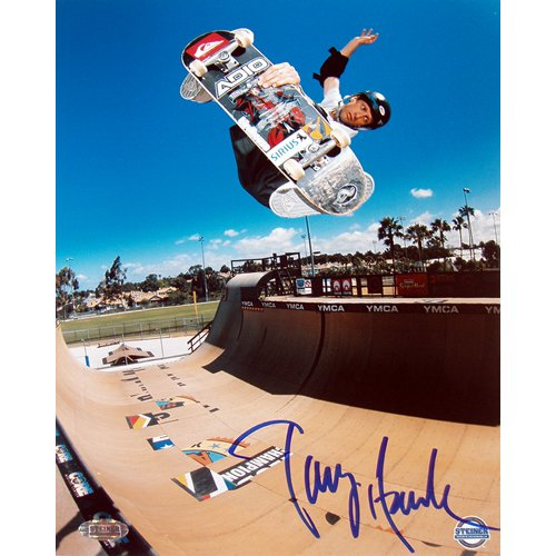(Steiner Sports Tony Hawk Half Pipe Action in Blue Autographed 8-by-10-Inch Photograph)