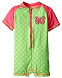 Wippette Baby Girls' Polka Dot with Butterfly 1 Piece Swim, Gecko, 6-9 Months