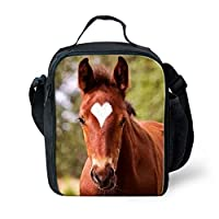 Xinind 3D Horse Insulated Lunch Bag for Kids Boys Girls Animal Printed Cooler Child Lunchbox Tote Food Container
