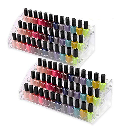 Acrylic Organizer Storage Case Brochure Display Holders for Essential Oil Cosmetic Dropper Bottle Condiment Clear Color Nail Polish Paint Rack Shelves Fair Gifts Samples Showing Stand 2 Sets 2 ()
