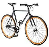 Critical Cycles Harper Single Speed/Fixed Gear Commuter Bike, Graphite & Orange, Extra Large: 61cm