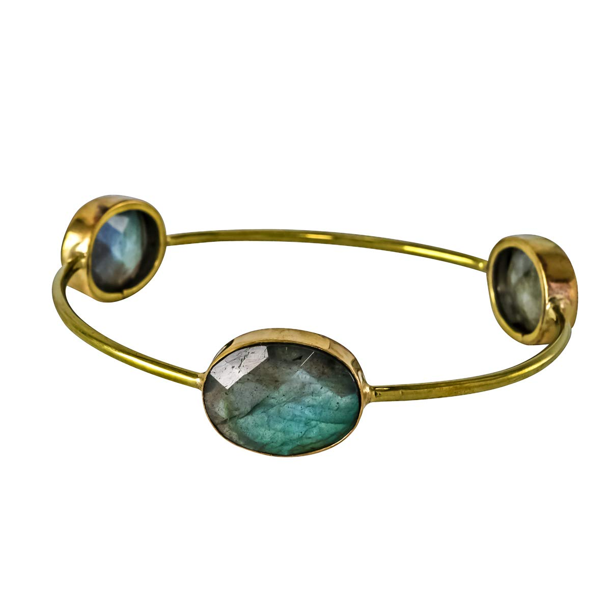 Labradorite 18k Gold Plated Brass Bezel 62 Cms Handmade Bangles /& Bracelets Stackable,