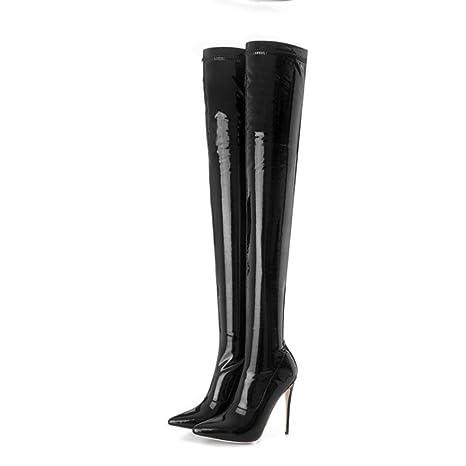 Best 4U® Zapatos cálidos de invierno para mujer de charol con tacones de aguja  con 15d0fa005081