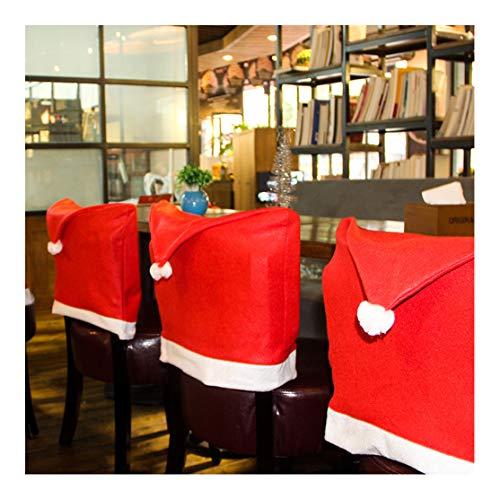 Deenen - Juego de Funda de tamaño estándar, Adornos navideños para sillas de Navidad, Gorro de Navidad, Juego de sillas...