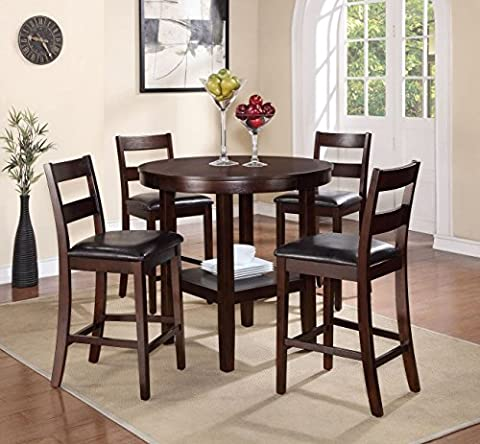Pearington 5 Piece Counter Height Storage Dining Set, Expresso Finish